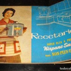 Libros de segunda mano: REVISTA RECETARIO RECETAS COCINA SUPER OLLA A PRESION HISPANO SUIZA . INSTRUCCIONES. Lote 127677403