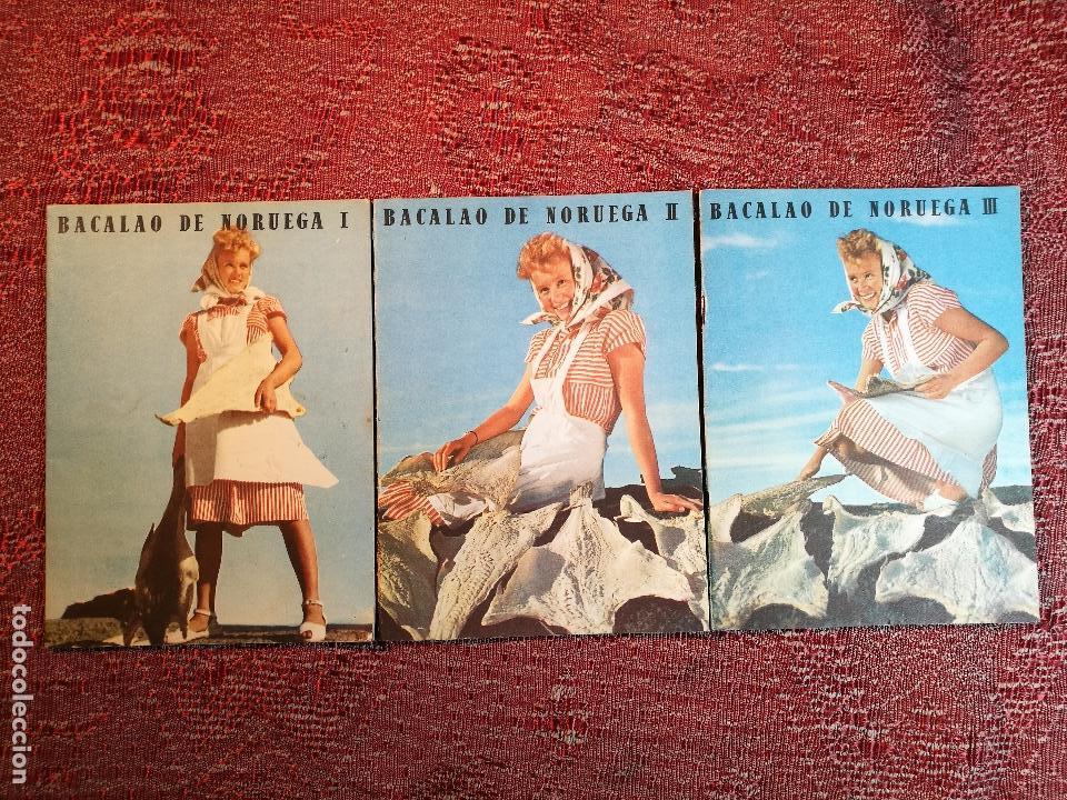 -BACALAO DE NORUEGA. 3 FOLLETOS CON RECETAS DE BACALAO. C. 1960. -REF-1AC (Libros de Segunda Mano - Cocina y Gastronomía)