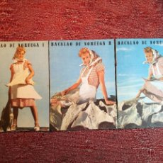 Libros de segunda mano: -BACALAO DE NORUEGA. 3 FOLLETOS CON RECETAS DE BACALAO. C. 1960. -REF-1AC. Lote 155643294