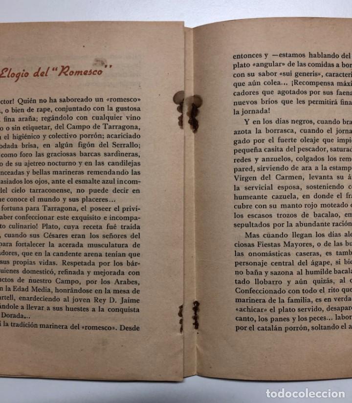 Libros de segunda mano: ANTONIO ALASÁ. EL ROMESCO. EL GRAN GUISO MARINERO TARRACONENSE. 1951 - Foto 4 - 155837010