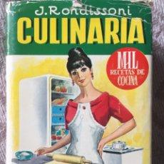 Libros de segunda mano: LIBRO COCINA CULINARIA - J. RONDISSONI - 1967. Lote 157928037