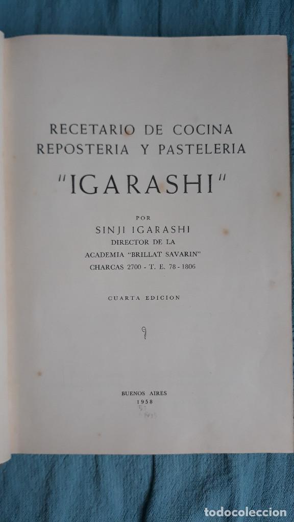RECETARIO DE COCINA RESPOSTERIA Y PASTELERIA IGARASHI POR SINJI IGARASHI 1958 BUENOS AIRES (Libros de Segunda Mano - Cocina y Gastronomía)