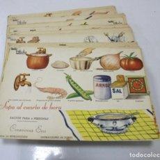 Libros de segunda mano: LOTE 90 RECETAS DE COCINA. CREACIONES EVA. COCINA GRAFICA WALY. ILUSTRADA A COLOR. RECETA AL DORSO.. Lote 171480465