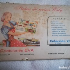 Libros de segunda mano: FICHAS DE COCINA WALY. 8 FICHAS. COLECCION XF. CREACIONES EVA. VER RECETAS DEL SUMARIO.. Lote 277745098