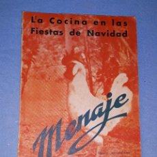 Libros de segunda mano: MENAJE REVISTA MENSUAL PARA LA MUJER Y EL HOGAR Nº 192 COCINA NAVIDAD AÑO 1946 CON MUCHA PUBLICIDAD. Lote 190699611