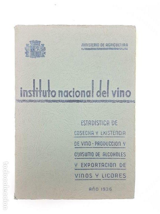 INSTITUTO NACIONAL DEL VINO ( ESTADÍSTICA COSECHA ) 1936 (Libros de Segunda Mano - Cocina y Gastronomía)