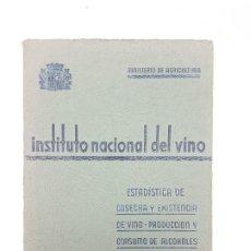 Libros de segunda mano: INSTITUTO NACIONAL DEL VINO ( ESTADÍSTICA COSECHA ) 1936. Lote 191056993