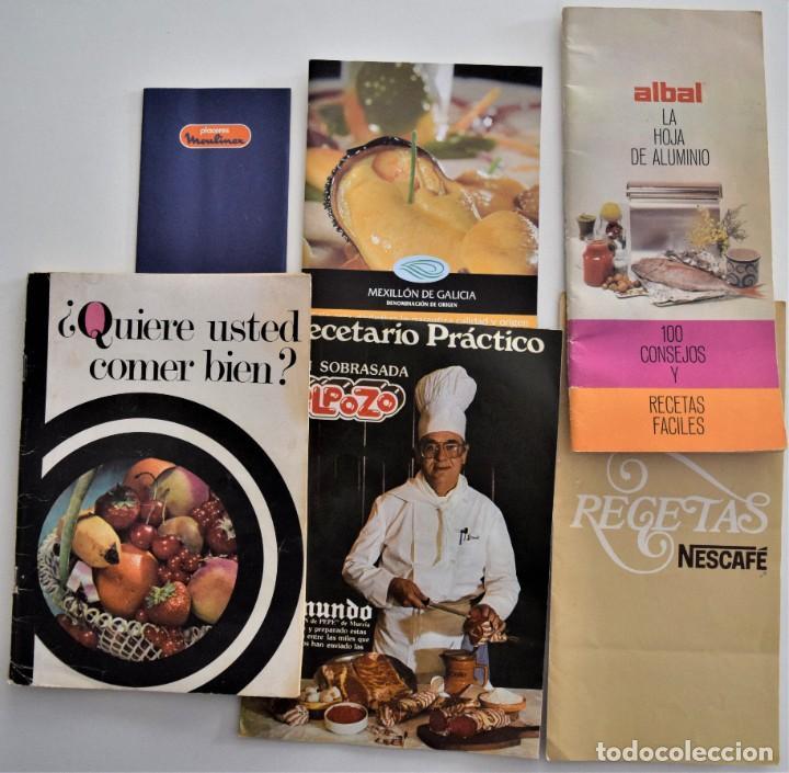LOTE 6 PUBLICACIONES EL POZO, NESCAFÉ, STARLUX, ALBAL, MOULINEX Y MEXILLÓN DE GALICIA - RECETAS (Libros de Segunda Mano - Cocina y Gastronomía)
