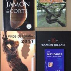 Libros de segunda mano: LOTE 5 LIBROS MANUAL MEJORES VINOS DESTILADOS DE ESPAÑA JAMON Y SU CORTE LAS RUTAS BODEGAS CATALOGO. Lote 228367077