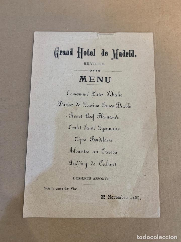 MENU DEL GRAND HOTEL DE MADRID / SEVILLA / 25 NOVIEMBRE 1899 (Libros de Segunda Mano - Cocina y Gastronomía)