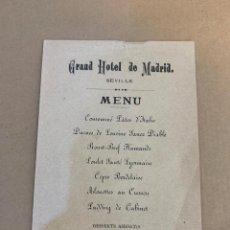 Libros de segunda mano: MENU DEL GRAND HOTEL DE MADRID / SEVILLA / 25 NOVIEMBRE 1899. Lote 229997280