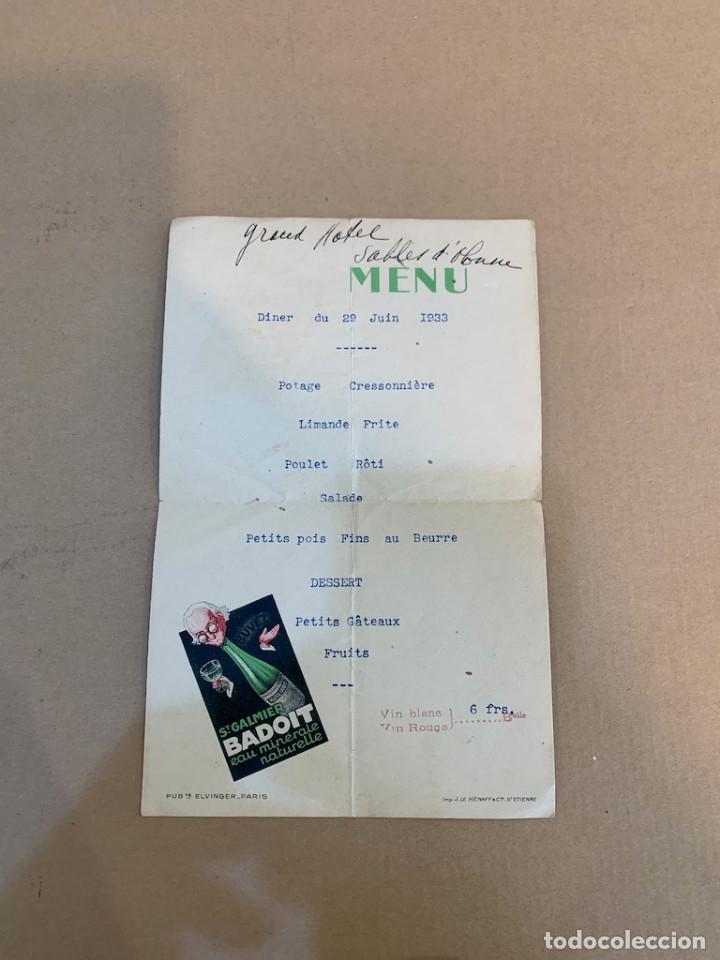 MENU GRAND HOTEL SABLES / ST. GALMIER BADOIT EAU MINERALE NATURALE / 29 JUNIO 1933 (Libros de Segunda Mano - Cocina y Gastronomía)