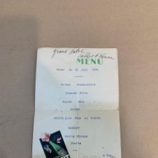 Libros de segunda mano: MENU GRAND HOTEL SABLES / ST. GALMIER BADOIT EAU MINERALE NATURALE / 29 JUNIO 1933. Lote 229998100