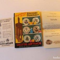 Libros de segunda mano: RECETAS ESPAÑOLAS, GALLETAS ARTIACH CON OFICIO CONSEJERO DELEGADO, GABRIEL ARTIACH BILBAO 1956. Lote 240073585
