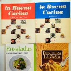 Libros de segunda mano: DESCUBRA LA PASTA + ENSALADAS. COCINA VISUAL PASO A PASO + CEREALES Y PASTA II + SALSAS. Lote 244753655