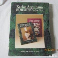 Libros de segunda mano: ESTUCHE CON DOS LIBROS DE KARLOS ARGUIÑANO EL MENU DE CADA DIA. Lote 249396060