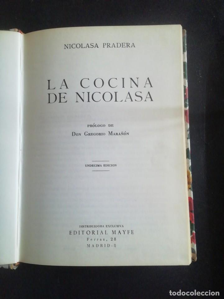 LA COCINA DE NICOLASA. NICOLASA PRADERA. ED. MAYFE, 1965. (Libros de Segunda Mano - Cocina y Gastronomía)