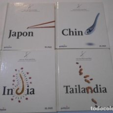Libros de segunda mano: 4 LIBROS -COCINA PAIS X PAIS-JAPON-CHINA-TAILANDIA-INDIA-. Lote 269088788