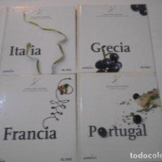 Libros de segunda mano: 4 LIBROS -COCINA PAIS X PAIS-FRANCIA-PORTUGAL-GRECIA-ITALIA-. Lote 269089403
