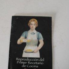 Libros de segunda mano: REPRODUCCION PRIMER RECETARIO DE COCINA. CARBONELL. Lote 288860808