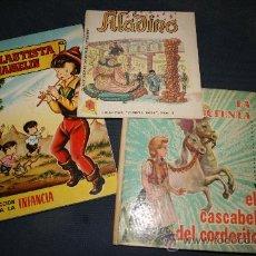 Libros de segunda mano: LOTE DE 3 CUENTOS. LA CENICIENTA,1963. EL FLAUTISTA DE HAMELIN,BRUGUERA 1959 Y ALADINO,AVEREST.. Lote 27005992