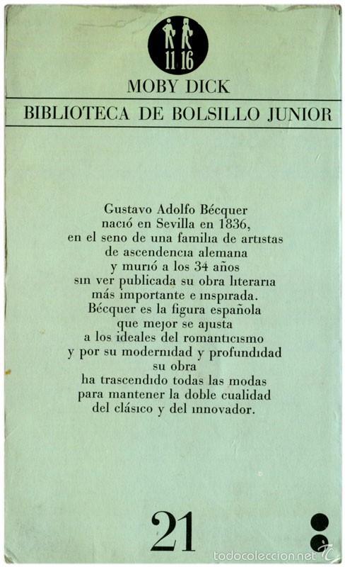 Libros de segunda mano: Gustavo Adolfo Bécker - Leyendas - Moby Dick #21 (2ª ED.) Barcelona 1978 - Satué - Foto 2 - 61323275