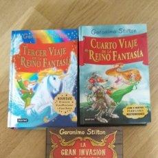 Libros de segunda mano: GERONIMO STILTON - LA GRAN EVASION DE RATONIA-TERCER Y CUARTO VIAJE AL REINA DE LA FANTASIA. Lote 64942275