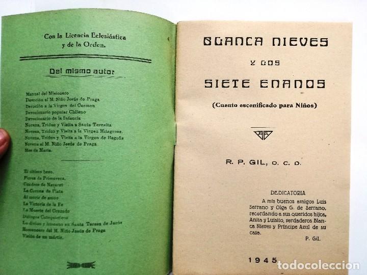 Libros de segunda mano: BLANCANIEVES Y LOS SIETE ENANOS.CUENTO ESCENIFICADO PARA NIÑOS.1945.R.P.GIL - Foto 2 - 110529371