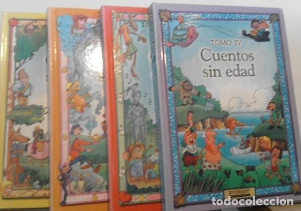 CUENTOS SIN EDAD. 32 CUENTOS CLÁSICOS ILUSTRADOS EN 4 TOMOS. EDITORIAL EVEREST (Libros de Segunda Mano - Literatura Infantil y Juvenil - Cuentos)