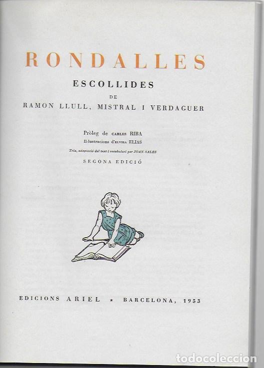 Libros de segunda mano: Rondalles de R. Llull, Mistral i Verdaguer.prol. Carles Riba, Il. E. Elias, tria i adap. J. Sales. - Foto 2 - 118027279
