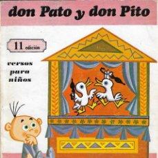 Libros de segunda mano: DON PATO Y DON PITO - GLORIA FUERTES - VERSOS PARA NIÑOS - EDITORIAL ESCUELA ESPAÑOLA, S.A., 11ª ED. Lote 124171383