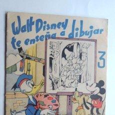 Libros de segunda mano: WALT DISNEY TE ENSEÑA A DIBUJAR Nº 3 / EDITORIAL DURAN 1945 - 1ª ED. / 16 PAGINAS. Lote 124532023