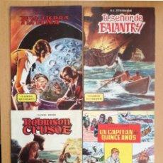 Libros de segunda mano: 4 CUENTOS CLÁSICOS ILUSTRADOS Nº 3-4-5-6 EDITORIA VALENCIANA-1984 DANIEL DEFOE-JULIO VERNE-STEVENSON. Lote 127681495