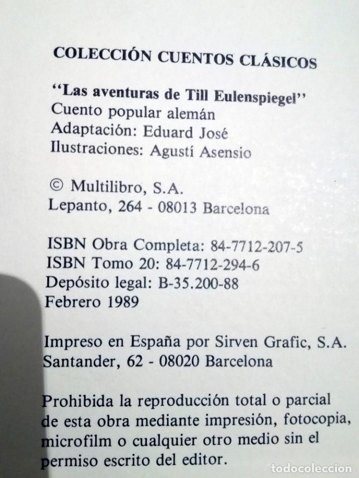 Libros de segunda mano: LAS AVENTURAS DE TILL EULESPIEGEL nº 20 ROVIRA Colección Cuentos Clásicos-Multilibro 1989 nuevo - Foto 2 - 139939570