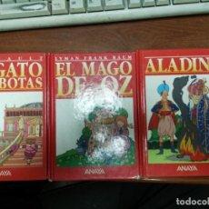 Libros de segunda mano: LOTE ANAYA EL GATO CON BOTAS, ALADINO, EL MAGO DE OZ. Lote 153459022