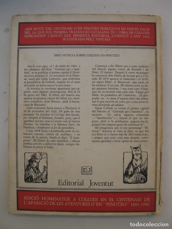 Libros de segunda mano: LES AVENTURES D'EN PINOTXO - C. COLLODI - J. VINYALS - EN CATALÁN - EDITORIAL JOVENTUT - AÑO 1981. - Foto 4 - 165343410