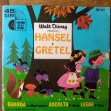 Libros de segunda mano: CUENTO + DISCO DE VINILO - HANSEL E GRETEL DE WALT DISNEY EN ITALIANO -. Lote 174967179