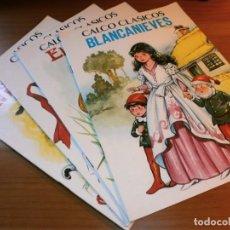 Libros de segunda mano: LOTE 4 CUENTOS CALCO CLÁSICOS - BLANCANIEVES, EL PATITO FEO,...ETC - PRODUCCIONES EDITORIALES, S.A.. Lote 189919538
