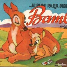 Libros de segunda mano: WALT DISNEY : BAMBI 1ª SERIE (VILCAR, 1958) PARA COLOREAR. Lote 197379143