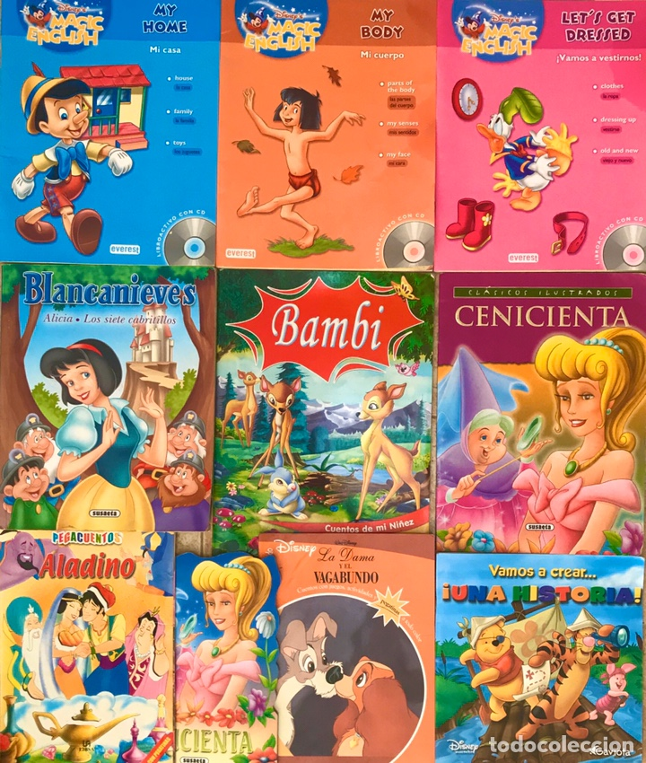 LOTE 10 LIBROS CUENTOS INFANTILES DISNEY - CENICIENTA, MAGIC ENGLISH, BLANCANIEVES, BAMBI... (Libros de Segunda Mano - Literatura Infantil y Juvenil - Cuentos)