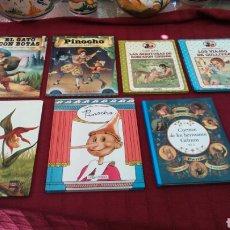 Libros de segunda mano: LIBRO CUENTO :PINOCHO, HISTORIAS DE GNOMOS, EL GATO CON BOTAS, LOS VIAJES DE GULLIVER, GRIMM, ROBINS. Lote 203385868