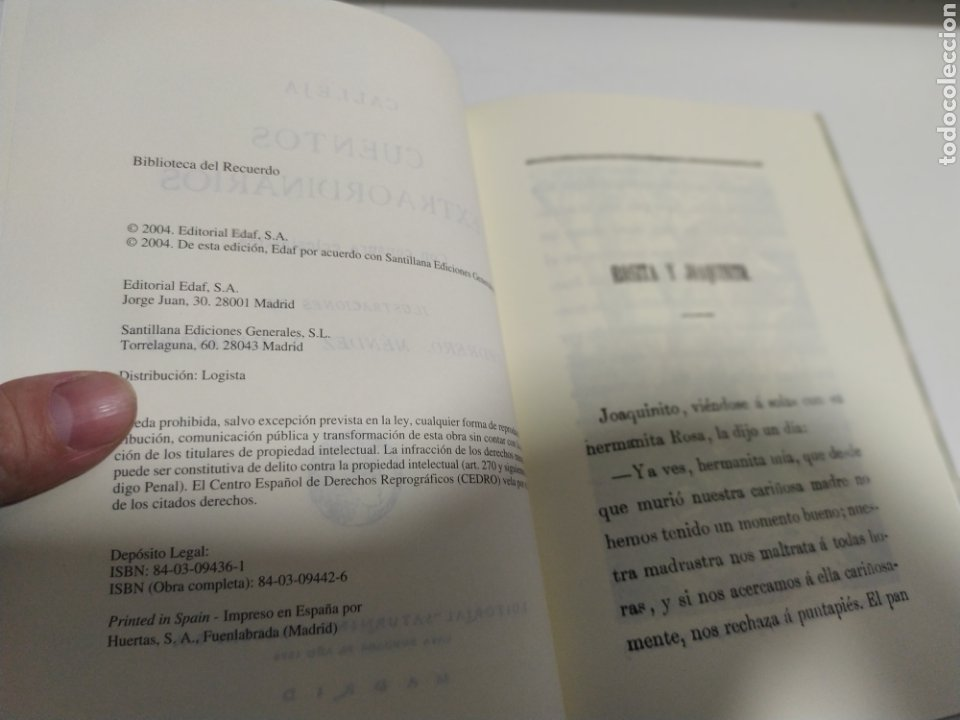 Libros de segunda mano: CUENTOS EXTRAORDINARIOS - S. CALLEJA - EDAF - FACSIMIL 2004 - 123 PAGINAS - Foto 4 - 204422481