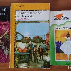 Libros de segunda mano: UNA COLGADA AL CUELLO Y OTROS CUENTOS ;CHARLIE Y LA FÁBRICA DE CHOCOLATE; EL MISTERIO DEL COLEGIO EM. Lote 204542190
