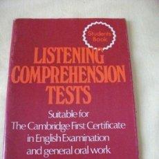 Libros de segunda mano: LISTENING COMPREHENSION TESTS- J.C.TEMPLER HEINEMAN(CAMBRIDGE FIRST CERTIFICATE). Lote 26544154