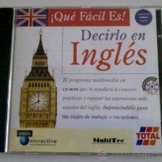 Libros de segunda mano: ¡QUÉ FÁCIL ES DECIRLO EN INGLÉS! ESPAÑOL E INGLÉS - PROGRAMA MULTIMEDIA CD-ROM. EDITA ANAYA. RAREZA!. Lote 41051161