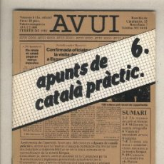 Libros de segunda mano: APUNTS DE CATALÀ PRÀCTIC 6. DIARI AVUI. 1982.. Lote 37332763