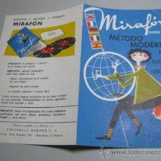 Libros de segunda mano: PUBLICIDAD MIRAFON METODO MODERNO IDIOMAS. Lote 37352710