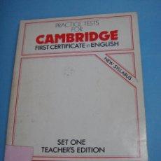 Livros em segunda mão: LIBRO. CAMBRIDGE PRACTICE TESTS FOR FIRST CERTIFICATE IN ENGLISH. LIBRO DE PROFESOR CON RESPUESTAS. Lote 49961673