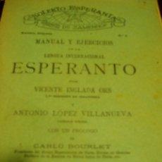 Libros de segunda mano: LENGUA INTERNACIONAL ESPERANTO AÑO 1904 - 2 LIBROS 1ª LECCIÓN Y MANUAL+ EJERCICIOS. Lote 50047352
