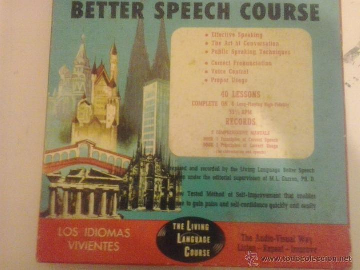 CURSO DE INGLES- BETTER SPEECH COURSE-THE LIVING LANGUAGE-1957 (Libros de Segunda Mano - Cursos de Idiomas)